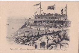 """Carte 1905 CAFE RESTAURANT """"AUX ROCHERS SCULPTES """" : Spécialités Homards,huitres.... - Rotheneuf"""