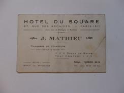 Carte De Visite De L'hôtel Du Square 87, Rue Des Archives à Paris 3éme. - Unclassified
