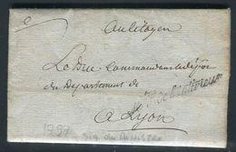 France - Lettre Avec Texte Et Signature Du Ministre De L 'Intérieur Pour Un Duc à Lyon En 1797- Ref N 117 - Postmark Collection (Covers)