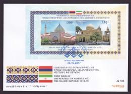 Armenien / Armenie / Armenia 2017, Armenia-Iran Joint Issue, Blue Mosque Yerevan, Cathedral Isfahan SS  - FDC - Armenië