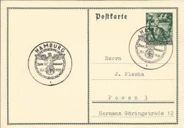 Deutsches Reich  Ganzsachen Karte 1938  Sstpl Hamburg-Posen - Germany