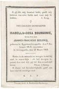 Doodsprentje BOURGONIE Isabella (Wed. DECLERCQ J.) - °Eggewaartskapelle En Overleden Te Avekapelle 1869 - Images Religieuses