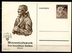 """German Empires,DR 1938/39 GS WHW Mi.Nr.P274/05""""Februar,Arbeiter Mit Hammer """" 1 GS Blanco - Allemagne"""