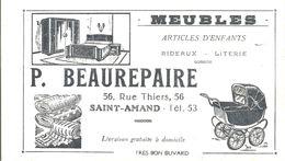 Buvard P.BEAUREPAIRE 56,Rue Thiers Saint Amand Meubles Articles D'enfants Rideaux Literie - Blotters