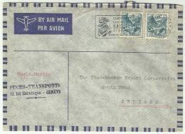 CHCV063 Switzerland 1947 Geneva Cover Tied Pair Definitive 40c Alpine Lake With Slogan To USA - Switzerland
