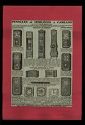 PUBLICITES - Pendules Et Horloges à Carillon - Pub Issue D'une Revue De 1938 Et Collée Sur Feuille - Werbung