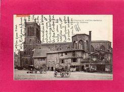 42 Loire, Roanne, Eglise St-Etienne Et Vieilles Maisons, Place Du Château, Animée, Charrettes, 1916, (Mme Lafay-Bessacie - Roanne