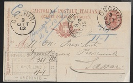 STORIA POSTALE REGNO - ANNULLO TONDO RIQUADRATO SASSARI  03.10.1902 SU INTERO UMBERTO I° DA OSCHIRI - 1878-00 Umberto I