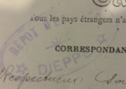 CACHET Dépôt Des éclopés De Dieppe - CARTE DE PUYS - Le Casino Et Les Cabines - Guerre De 1914-18
