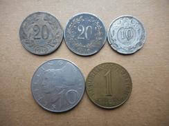 Austria 10,20 Heller,1,10 Schilling 1893-1974 (Lot Of 5 Coins) - Autriche