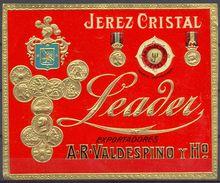 1436 - Espagne - Andalousie - Jerez Cristal - Leader - Exportadores - A.R. Valdespino Y Nº - Jerez - Etiquette Gaufrée - Labels