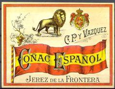1445 - Espagne - Andalousie - Coñac Español - C.P. Y Vasquez - Jerez De La Frontera - Labels