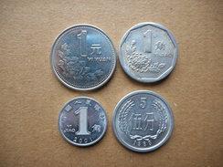 China 5 Fen,1 Jiao,1 Yuan 1983-2001 (Lot Of 4 Coins) - Chine