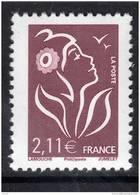 France N° 3972a XX Type Marianne De Lamouche : 2. 11 € Brun-prune Variété  Sans  Bande De Phosphore Signé Calves   TB - Curiosa: 2000-09 Postfris