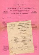 VP11.366 - 2 Documents De La Société Des Chemins De Fer Du Nord - Service Des Titres à PARIS - Transports
