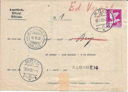 SUISSE 1932 BRIG VS Formulaire Officiel Timbre Désarmement, Cachet Linéaire ALBINEN WALLIS, Non Remise De Colis, Amtlich - Postmark Collection