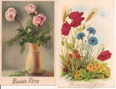 L32B034 - Lot De Deux  Cartes - Bonne Fête - Bouquet Champêtre Et Bouquet De Roses - Holidays & Celebrations