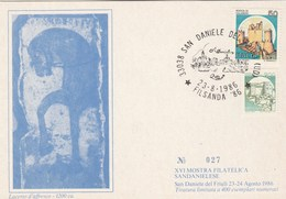 1986 San Daniele HORSE Philatelic EXHIBITION  FILSANDA EVENT COVER Card ITALY Art Stamps - Horses