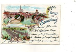 CPA - STRASBOURG (67) - Carte Lithographique De 1898 - Pont Du Rhin - Strasbourg
