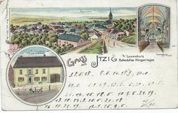 Itzig (Izeg) - Litho Gruss Aus Itzig Bei Luxemburg Bahnstation Hesperingen (siehe Zustand !!) - Cartes Postales