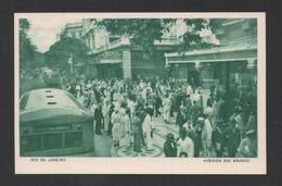 BRAZIL RIO DE JANEIRO AV. RIO BRANCO Bus Car PCARD 1940 ADVERT CASINO COPACABANA - Postcards