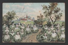 COMIC ART POSTCARD CHILDREN CHIL D BABY SPROUTS CABBAGE PLANT Year 1905 - Comics