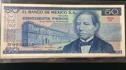 L) 1981 MEXICO, BANKNOTES, BENITO PABLO JUAREZ GARCIA, PRESIDENT, AZTEC TEMPLE, 50 PESOS, SERIE JV, ARCHITECTURE, XF - Mexico