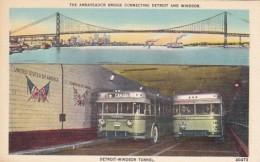 Michigan Detroit Buses In Detroit-Windsor Tunnel & Ambassador Br