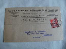 Maubeuge Fabrique Produit Ceramique Usine Gare De Douzies Carte Commerciale - Maubeuge