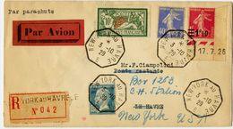 France LRec. Affr. N° 207, 181, 228, 237 Obl Càd New-York Au Havre - S. Calves - Superbe - France