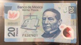 L) 2010 MEXICO, BANKNOTES, PRESIDENT BENITO JUAREZ, JUSTICE, MONTE ALBAN OAXACA, COCIJO, FINANCE, BANK OF MEXICO, 20 PES - Mexico