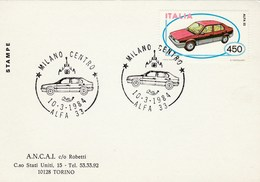 1984 Milan ITALY FDC Card ALFA 33 CAR Stamps Cover - Cars