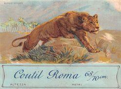 """06870 """"COUTIL ROMA 68/70 CM - TESSUTO PER CORSETTERIA 1800 - LEONE""""  ETICHETTA ORIGINALE - ORIGINAL LABEL FOR THREADS - Adesivi"""