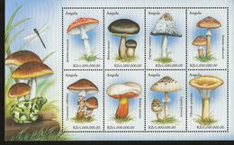 J) 1999 ANGOLA, DRAGONFLY ON MUSHROOM, FROG, SOUVENIR SHEET, MNH - Angola