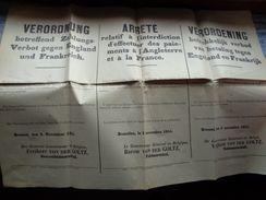 Réf: 69-16-370.    Affiche Du Gouverneur Général En Belgique   Baron VON DER GOLTZ - Documents