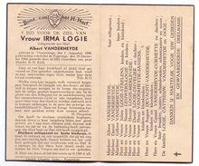 Devotie - Devotion - Irma Logie - Vlamertinge 1888 - Poperinge 1944 - Vanderheyde - Obituary Notices