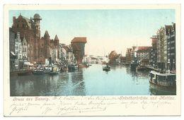 Danzig Grünthorbrücke Und Mottlau 1899 - Danzig