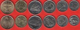 Fiji Set Of 6 Coins: 5 Cents - 2 Dollars 2012-2014 UNC - Fiji