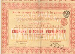 Action Ancienne - Société Anonyme Des Chemins De Fer Provinciaux - Titre De 1909 - Chemin De Fer & Tramway