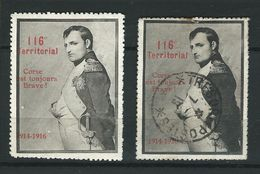 2 Vignettes DELANDRE NAPOLEON 116 ème Territorial WWI WW1 Poster Stamp 1914 1918 Cinderella - Erinnophilie