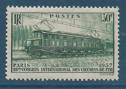 FRANCE - YT N°339 - 30c. Vert - Locomotive électrique - Neuf** TTB Etat - Nuovi