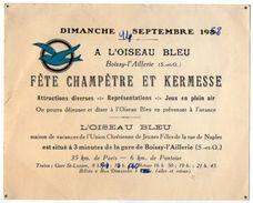 VP11.375 - Carte D'invitation Pour La Fête Champêtre & Kermesse à ¨ L'Oiseau Bleu ¨ BOISSY L'AILLERIE ( Seine & Oise ) - Non Classés