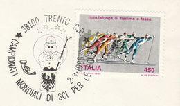 1986 Cover POLICEMAN SKIING, World POLICE SKIING Championships EVENT  Trento Italy Stamps Ski Sport - Police - Gendarmerie