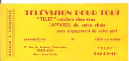Buvard TELEF Télévision Pour Tous 32, Rue Du Faubourg Poissonnière Paris - Blotters
