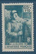 FRANCE - YT N°387 - 65c. + 1f. 10 Bleu-vert - L'infanterie Française - Neuf** TTB Etat - Nuovi