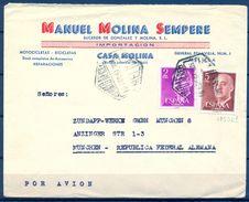 1961 , MELILLA , SOBRE COMERCIAL CIRCULADO A MÜNICH , ED. 1158 , 1291 ( 5 PTS. PIE DE IMPRENTA F.N.M.T.-B) - 1961-70 Storia Postale