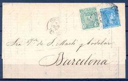 1876 , TARRAGONA , CARTA CIRCULADA ENTRE TORTOSA Y BARCELONA , ED. 164 , 154 IMPUESTO DE GUERRA - 1875-1882 Royaume: Alphonse XII