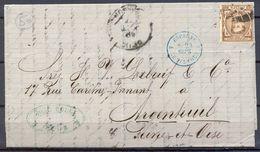1877 , TARRAGONA , CARTA CIRCULADA ENTRE REUS Y ARGENTEUIL , ED. 177 , TRANS. LA JUNQUERA , Y LE PERTHUS , LLEGADA - 1875-1882 Royaume: Alphonse XII