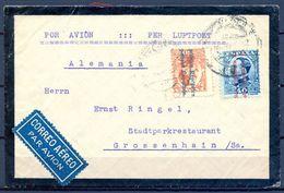 1932 , BARCELONA , SOBRE CIRCULADO A GROSSENHAIN , CORREO AÉREO , ED. 600 , 601 - 1889-1931 Reino: Alfonso XIII