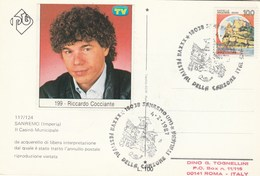 1987 RICCARDO COCCIANTE SanRemo Festival EVENT COVER Music Italy Stamps Card - Music